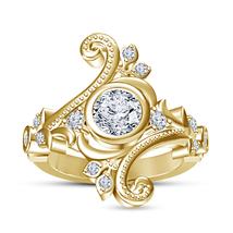 Art Deco Womens Diamond Engagement Designer Ring Gold Finish 925 Sterling Silver - £60.04 GBP