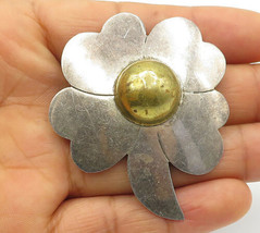 925 Sterling Silver - Vintage Two Tone Dome Flower Designed Brooch Pin -... - $31.88