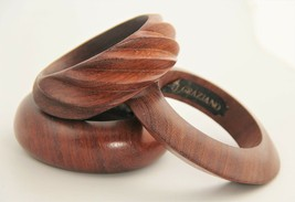 R J GRAZIANO SET OF THREE VINTAGE TRIBAL BOHO CHIC WOOD BANGLE BRACELETS - $25.00