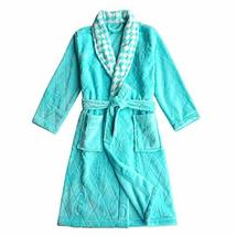Soft Plush Diamond Pattern Lapel Bathrobes for Boys Girls Bath Homewear, Light B