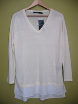 NWT LAUREN Ralph Lauren Ivory White Layered Modal Silk Relaxed Knit Blou... - $34.80