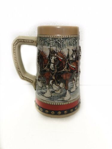 Primary image for Budweiser Beer Stein 1988 Clydesdales Christmas Holiday Tree Collectors Series