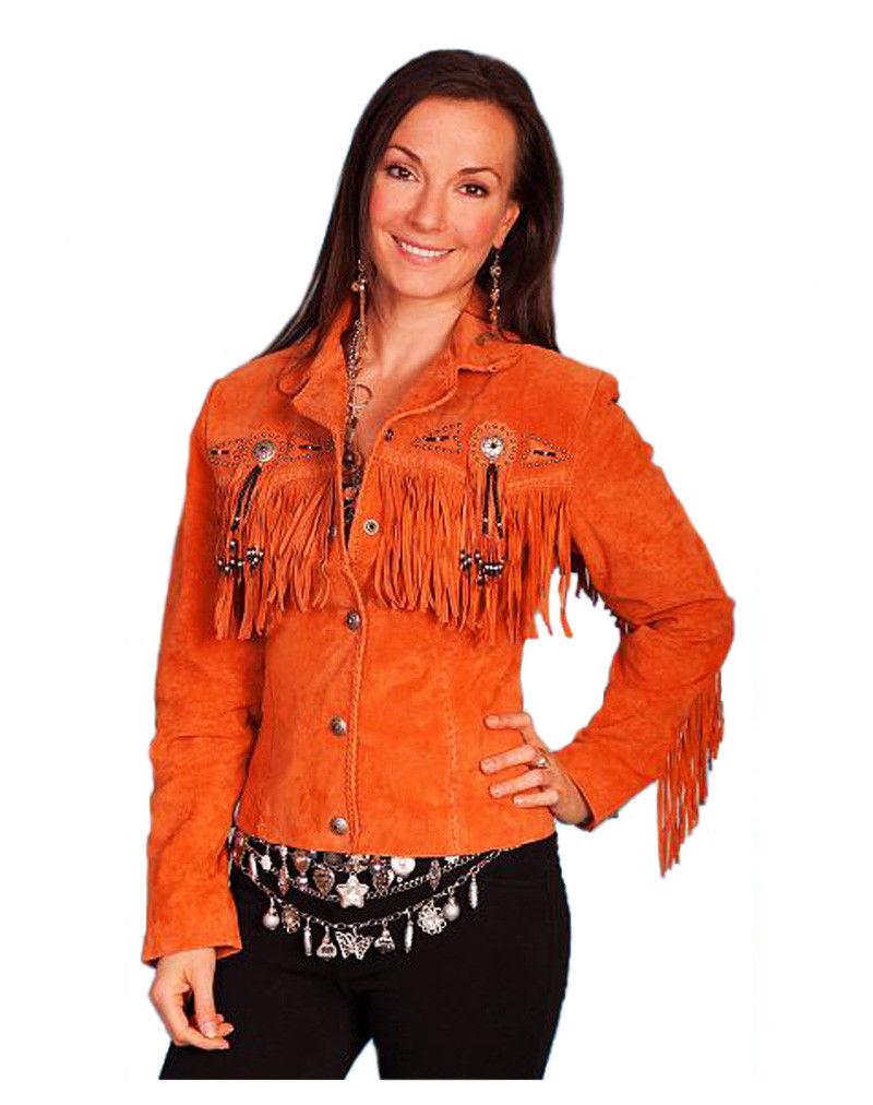 QASTAN Women's Orange Fringes / Concho Suede Cow Leather Jacket WWJ14F