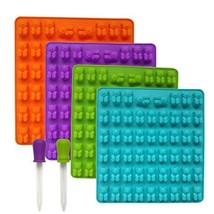 4 PACK Silicone Gummy Bear Mold With 2 Bonus Droppers, 212 gummy bears t... - $18.02