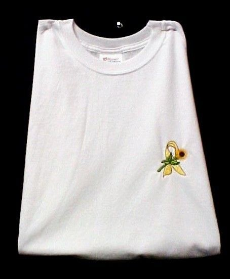 Yellow Ribbon Sunflower T-Shirt S White Liver Bladder Cancer Spina Bifida New image 4