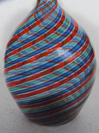 Murano Swirled Blue, Red & Turquoise Venetian Style Large Bulbous Glass Vase Dis