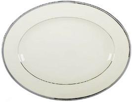 """Lenox Tuxedo Platinum 13.5"""" Oval Serving Platter Ivory New - $154.90"""