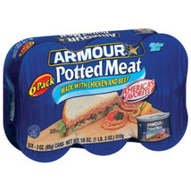 Armour® Potted Meat Six Pack 6-3 oz. Cans 1lb 2oz Total, Chicken Pork Ex... - $18.36