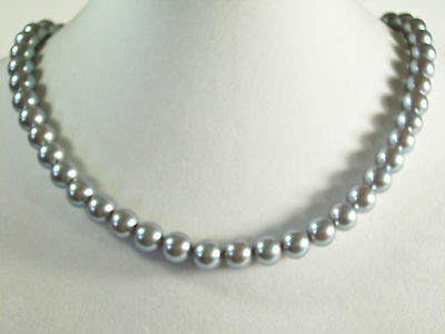 KYSKA Steel Grey Faux Pearls Choker Necklace Vintage Pearly Gray Office Career