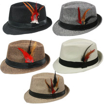 FEDORA with BAND & FEATHER Hat Trilby Gangster Vintage Style - $9.50+