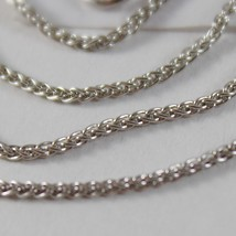 SOLID 18K WHITE GOLD SPIGA WHEAT EAR CHAIN 24 INCHES, 1.2 MM, MADE IN ITALY  image 2