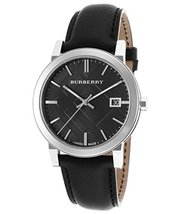 Burberry Bu9009 Men's The City Black Genuine Leather And Dial Watch - $125.00