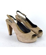 Alberto Fermani Brown Suede Leather Sling Back High Heel Pumps Shoes Pee... - $38.60