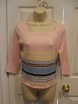 NEW IN PKG MB DESIGNS PINK STRIPE SQUARE NECK  neck top junior medium 7-9 - $10.40