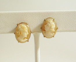 CARVED SARDONYX Shell CAMEO Victorian Lady Earrings Screw Bk Gold Plate ... - $32.66