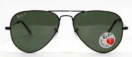 Ray Ban 3025 002/58 Black Aviator Polarized Sunglasses 58mm New and Auth... - $103.90