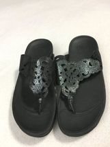 Black Scroll Sandals Womens Floral Shoes 5 Flip Shimmer Fitflop Fora Thong Flops Ox6PqY6t