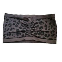 Obey Leopard Bandeau Bralette M/L Gray Animal Print Wireless Pullover  - $11.99