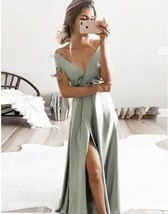 Sage V Neck Split Side Long Prom Dresses for Women Under 100 - $99.00+