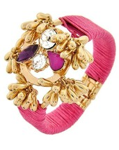 Gold Tone Wrapped Pink Cord Acrylic Metal Hinged Tassel Charms Bracelet - $14.99