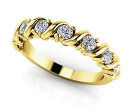 0.28 Ct Round Cut Sim Diamond Swirl Anniversary Band Ring In 14K Yellow ... - $114.99