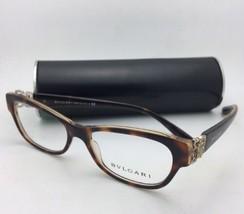 New BVLGARI Eyeglasses 4124-B 5379 52-16 140 Tortoise & Gold Frame with Crystals