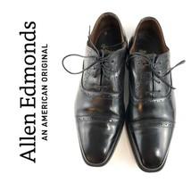 $395 Allen Edmonds Evanston Black Cap Toe Brogue Oxfords Mens Size 8.5   12106 - $80.75