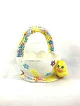 Ceramic Easter Egg Basket With Chick candy dish floral container - $12.00