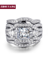 Se shape cubic zirconia 3 rings sets silver color party wedding jewelry for women gift thumbtall