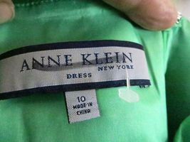 Anne Klein Dress 10 Green Strap V Neck Knee Length Cocktail Party Silk image 4