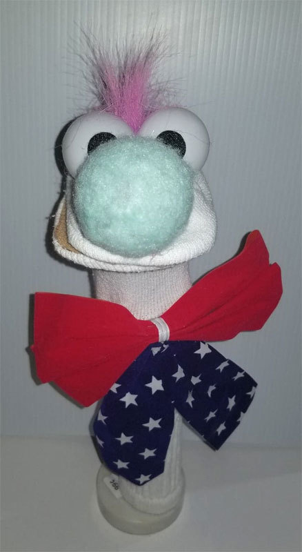 "D20 * Basic Custom ""Patriotic Guy w/ Rainbow Mohawk""  Sock Puppet * Custom Made"