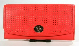 Coach Coral Perforated Leather Clutch Wallet Twist Turn Lock Closure - $60.82