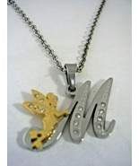 INITIAL M LETTER PENDANT WITH FAIRY AND CRYSTALS WITH CHAIN IN STAINLESS... - $18.66