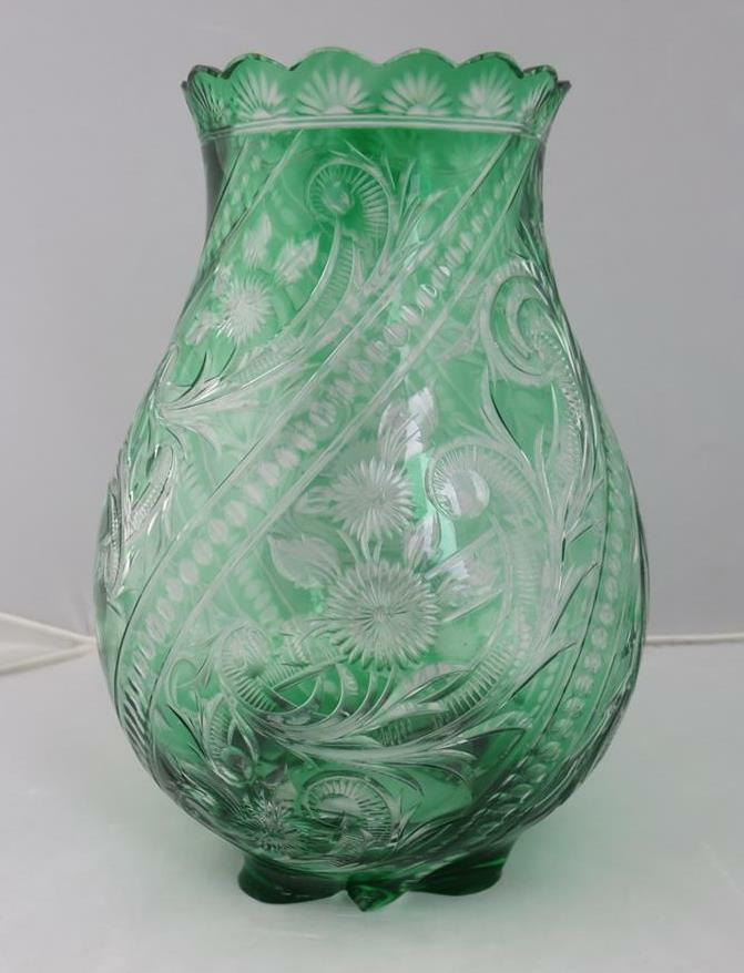 Stevens & Williams Emerald Green Cut To Clear Engraved Glass Vase ABP Brilliant - $909.84