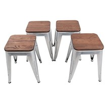 HAOBO Home Modern Industrial Metal Stool with Wooden Seat [Set of 4] Sta... - €127,09 EUR