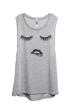 Thread Tank Lips And Lashes Women's Sleeveless Muscle Tank Top Tee Sport Grey - $24.99+
