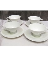 Set of 4 Rosenthal Classic Modern White Cups and Saucers - $24.75