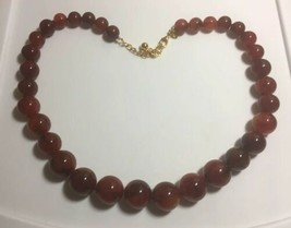 Joan Rivers Large Graduated Beads Dark Red Necklace - $24.70