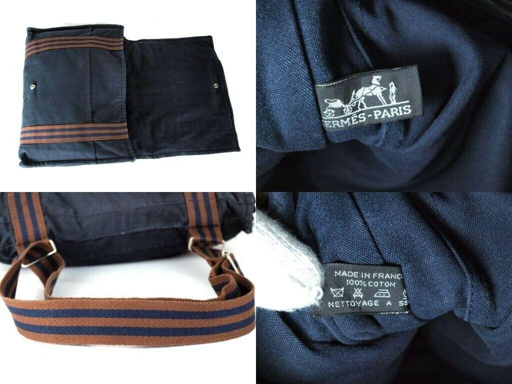 Auth Hermes Fool Toe Vassus MM Navy Cotton Canvas Shoulder Bag Purse France Used image 12