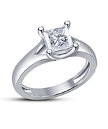 Princess cut White Cz Silver plated Beautiful Women's Attractive Band Ring - $5.46