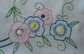 Vintage Linen Table Runner Hand Embroidered Pink Blue Floral Crochet Lace - $16.69
