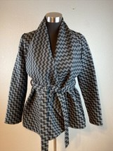Anthropologie Tulle Womens Coat Jacket XS Black Gray Chevron Wool Belted... - $29.69