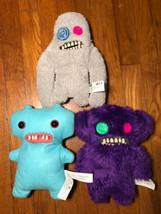 Lot of 3 Fuggler Ugly Monster Plush Stuffed doll Toys purple blue  - $46.99