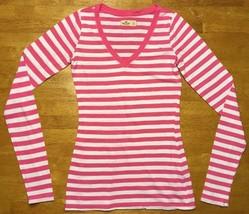 Hollister Women's Pink & White Striped Long Sleeve V-Neck Shirt - Size: XS - $13.36