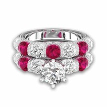 Round Cut Garnet & Sim Diamond With Six-prong Bar Setting Bridal Set For Female - $130.00