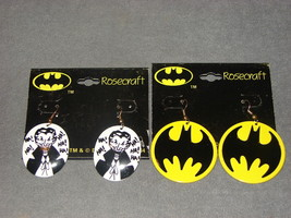 DC Comics: Batman Signal + The Joker Earrings Rosecraft [VINTAGE] NEW! - $12.00