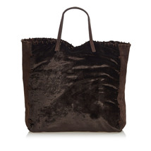 Pre-loved Prada Brown Dark Velour Fabric Tote Bag Italy - $415.14