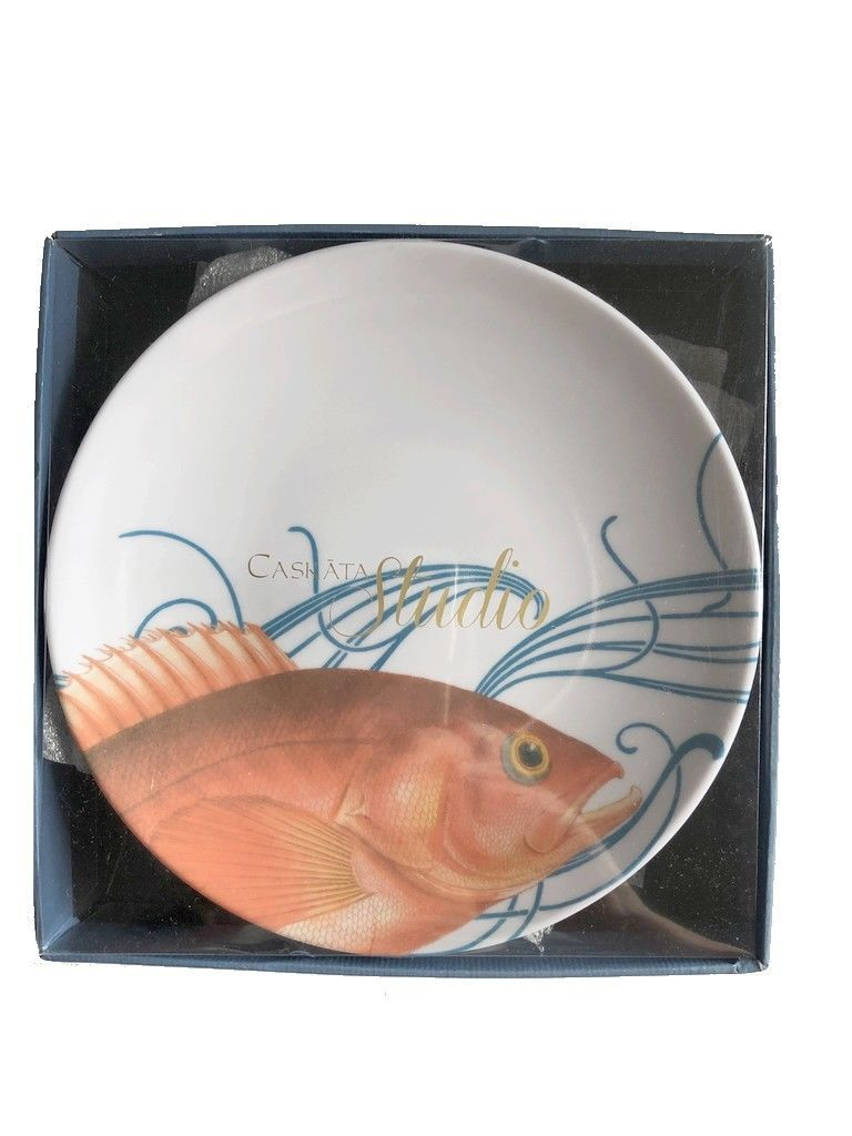 "Caskata Studio Plates Melamine 6"" Appetizer Dessert Gold Pink Fish set of 4"