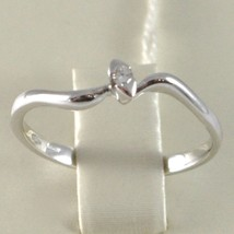White Gold Ring 750 18k, Wave Solitaire with Diamond, CT 0.03, Made in Italy image 2