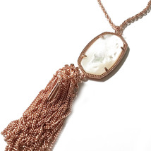 NEW! Kendra Scott Rayne Rose Gold Mother of Pearl Long Necklace Tassel D... - $66.24